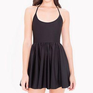 American Apparel Black Halter Figure Skater Dress
